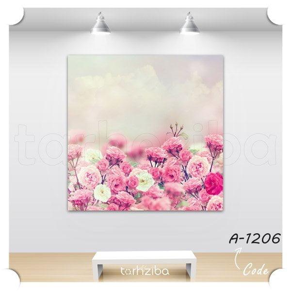خرید تابلو باغ گلهای صورتی