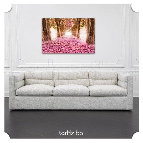 تابلو تزیینی باغ گل صورتی