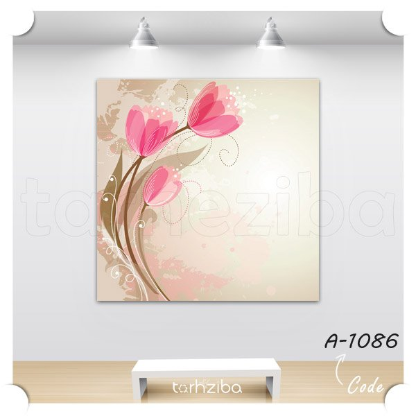 تابلو گل لاله صورتی