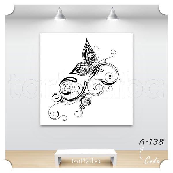 تابلو پروانه فانتزی سیاه و سفید
