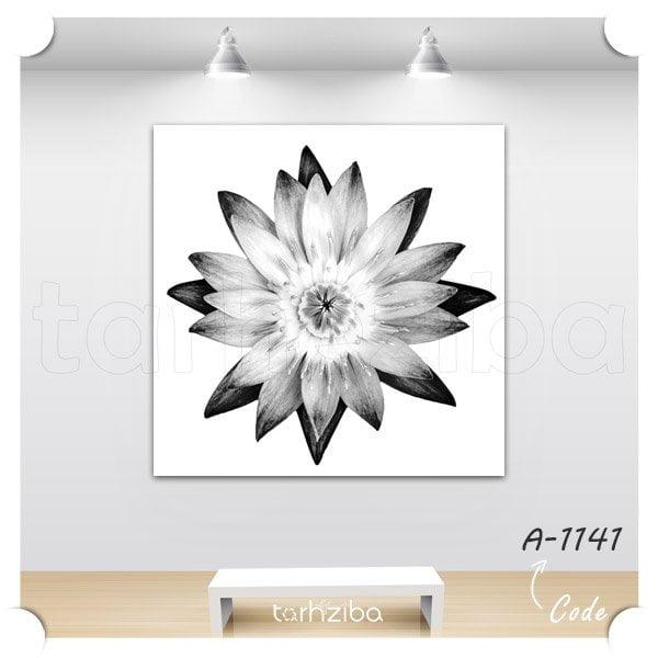 تابلو دیواری گل سیاه سفید