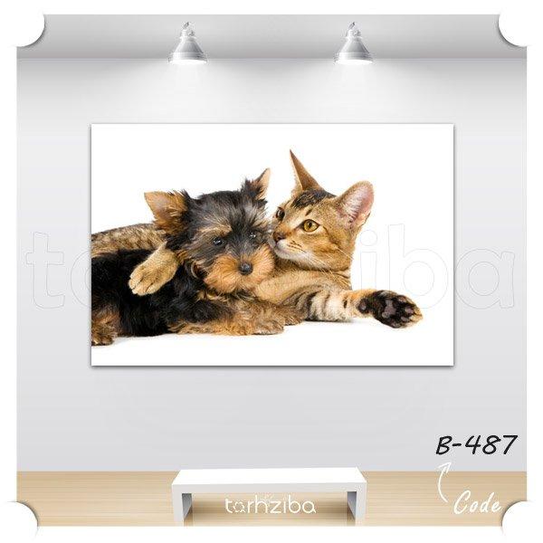 تابلو دیواری سگ و گربه