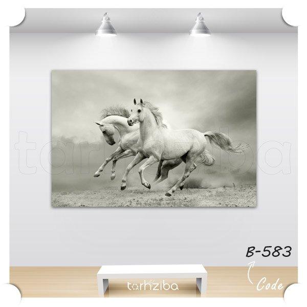 تابلو اسبهای رمنده در نمای تک رنگ