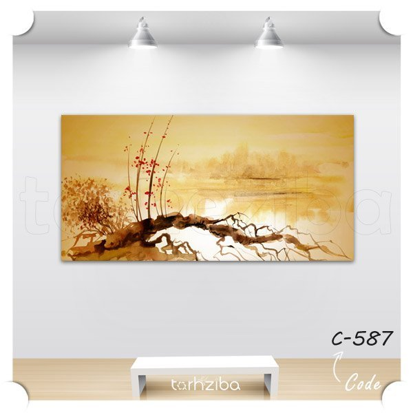 تابلو عکس نقاشی دریاچه و صخره