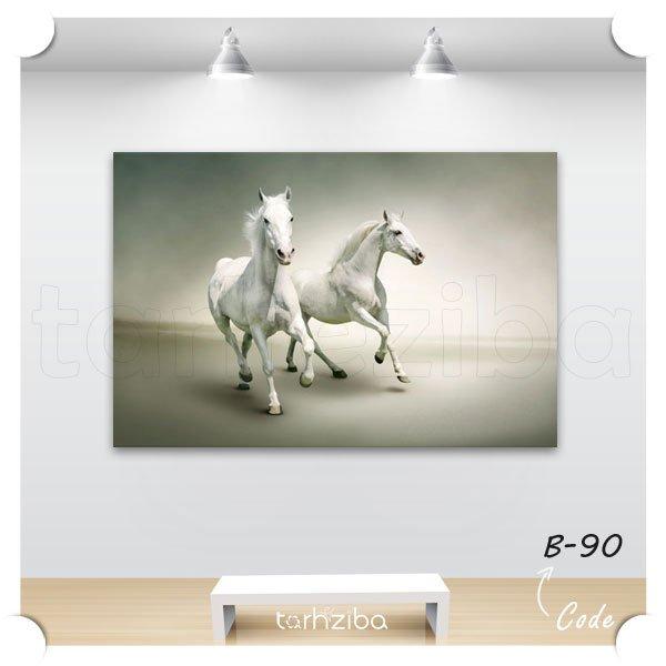 تابلو اسبهای سفید دونده