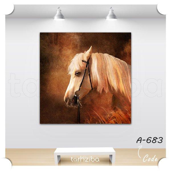 تابلو عکس نقاشی نیم رخ اسب