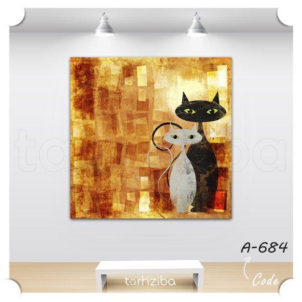 تابلو فانتزی خانم و آقای گربه