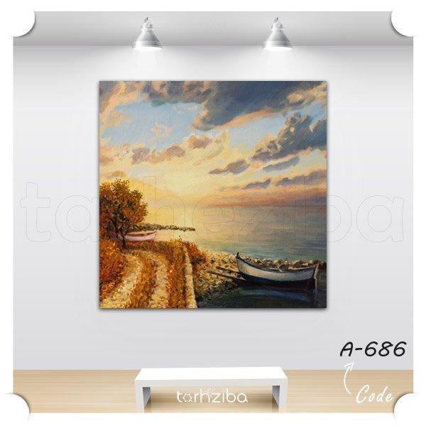تابلو عکس نقاشی قایق و دریا
