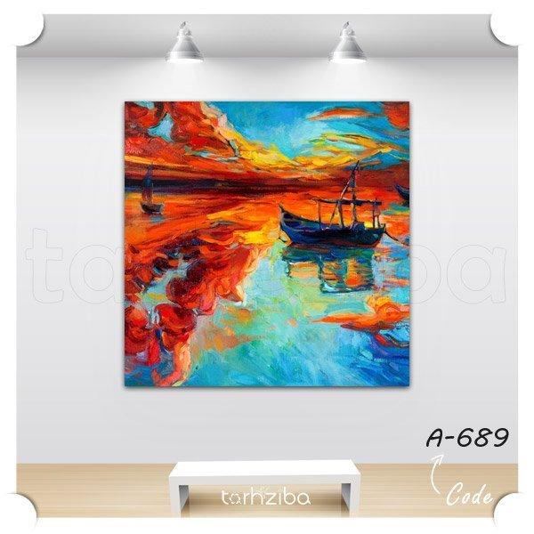 تابلو عکس نقاشی دریاچه و قایق