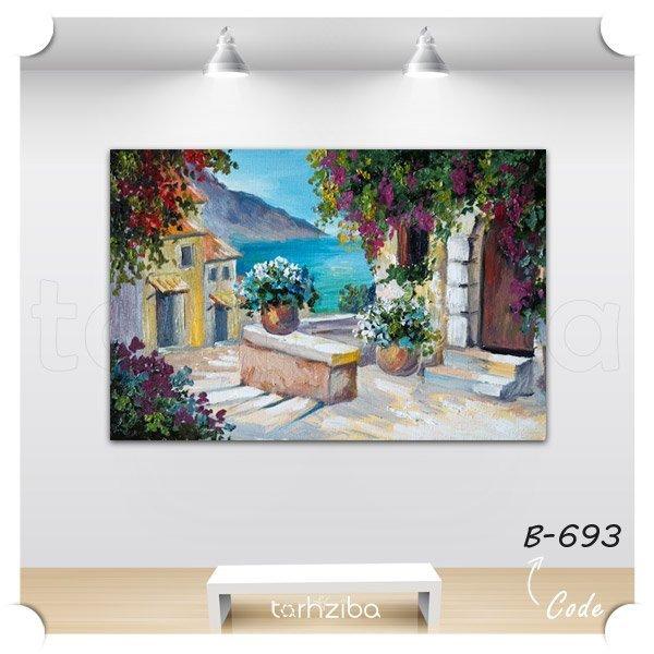 تابلو عکس نقاشی خانه ساحلی