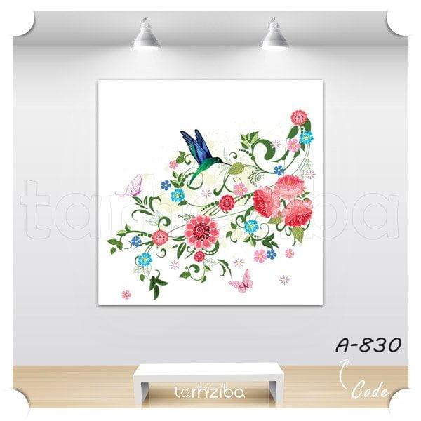 تابلو نقش و نگار گل و پرنده