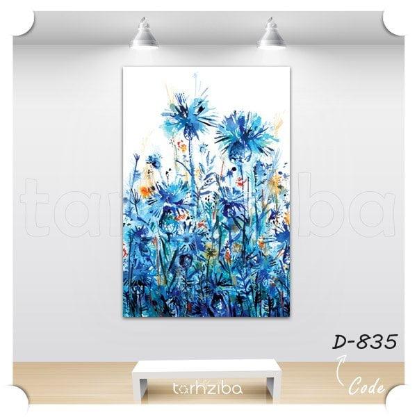 تابلو عکس باغ گلهای آبی