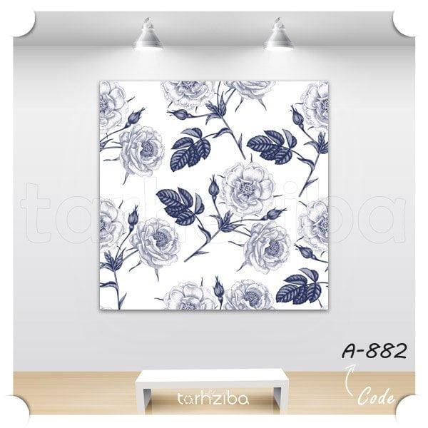 تابلو دکوراتیو گلهای آبی
