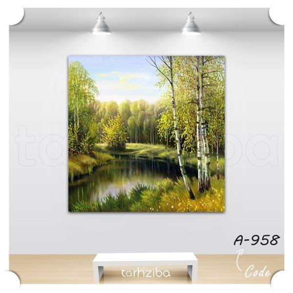 خرید تابلو نقاشی جنگل و نهر