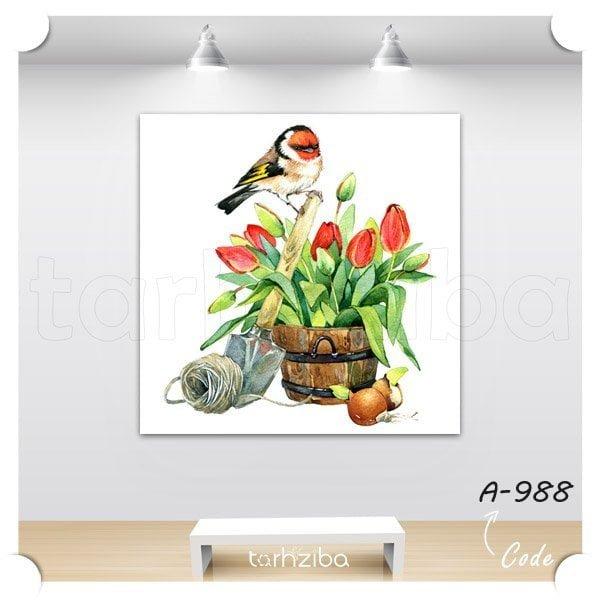 تابلو نقاشی پرندگان زیبا