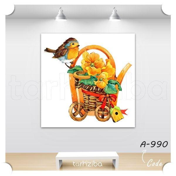تابلو نقاشی پرنده و گلدان گل