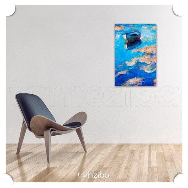 خرید تابلو عکس نقاشی قایق و دریا