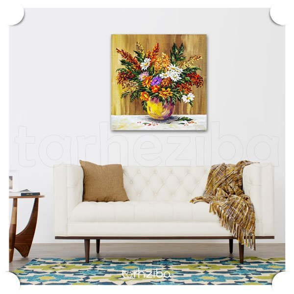 تابلو عکس گل های رنگارنگ