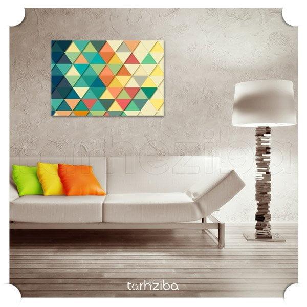 تابلو دکوراتیو مثلث های رنگی