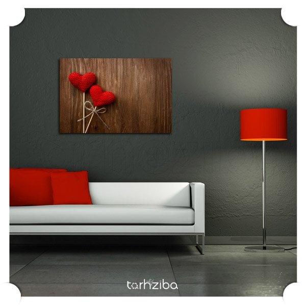 تابلو تزیینی عاشقانه سرخ قلبها