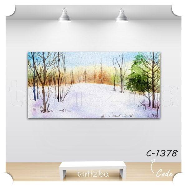 تابلو عکس جنگل برفی