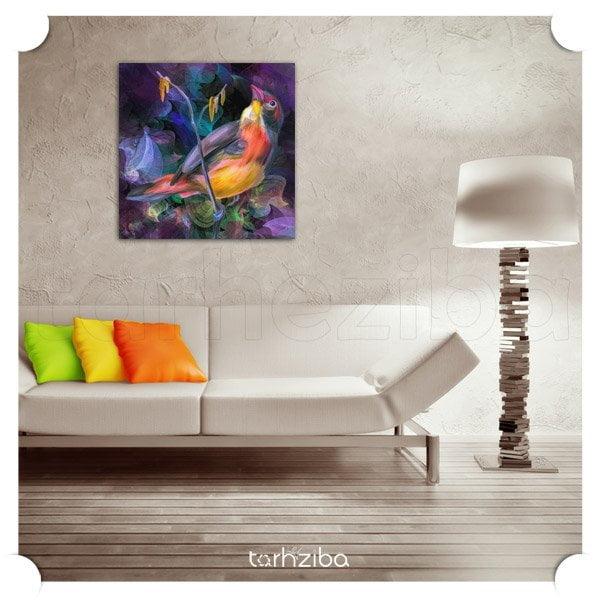 تابلو تزیینی پرنده رنگی
