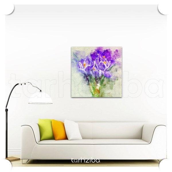 تابلو دکوراتیو گل نمای بنفش