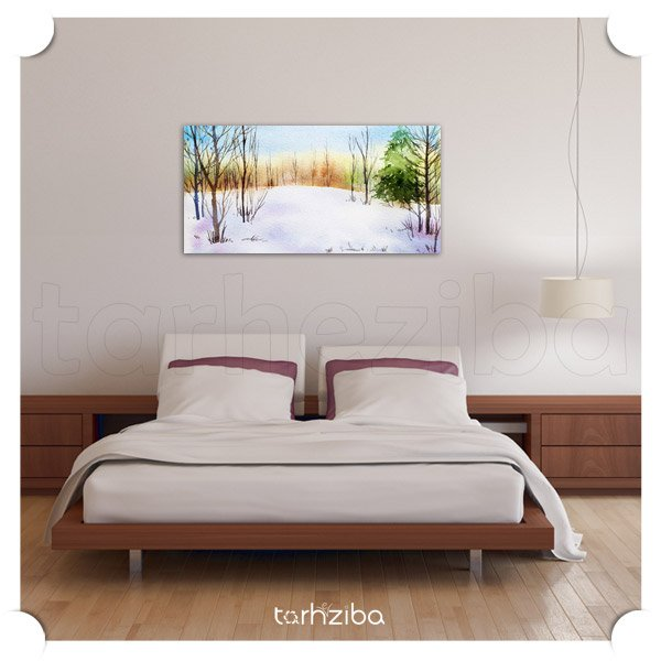 تابلو دکوراتیو جنگل برفی