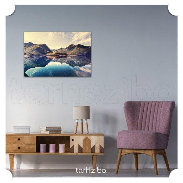 تابلو دیواری شیک و مدرن با طرح کوهستان و دریاچه