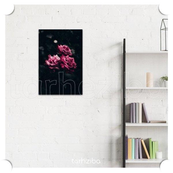 تابلو عکس دیواری شیک و مدرن با طرح گلهای صورتی