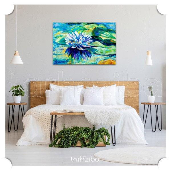 تابلو عکس نقاشی چاپی با طرح گل و مرداب