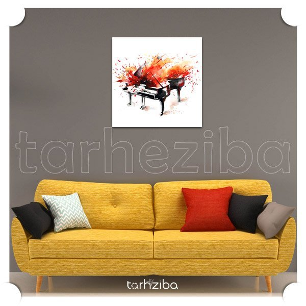 تابلو عکس هنری با طرح پیانو آتشین