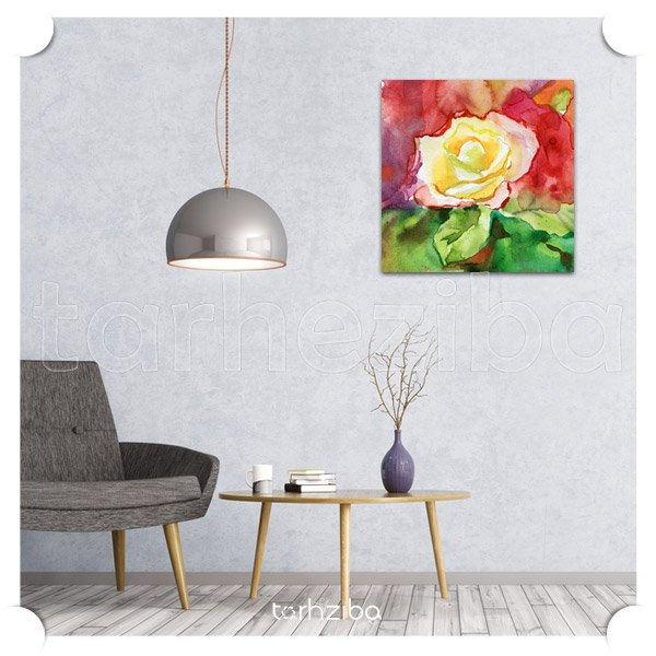 تابلو عکس نقاشی چاپی با طرح گل