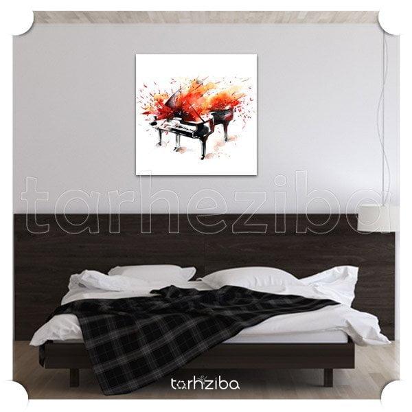 تابلو دیواری و فانتزی پیانو آتشین