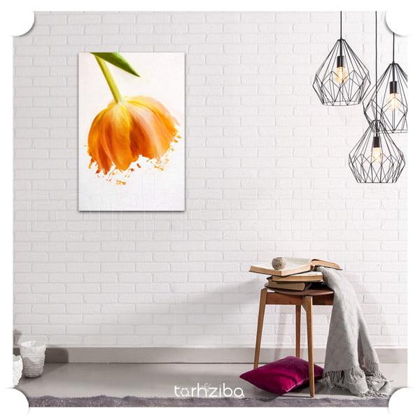 خرید تابلو برای پذیرایی مدرن با طرح گل نارنجی